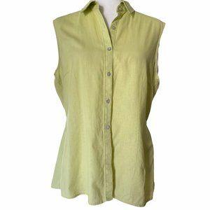 Covington Linen Cotton Sleeveless  Green Top 14